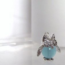 Gorgeous Handmade Sterling Silver & Aquamarine Barney Owl Pendant with Sterling Chain